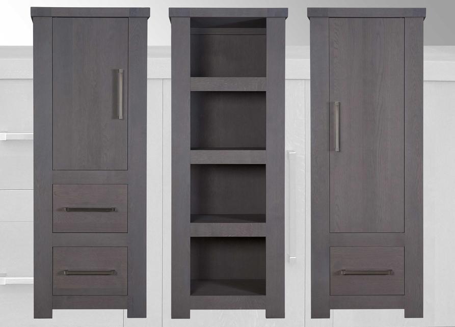 1 Deurs Kast : Square 1 deurs kast met open vakken meeks meubelen